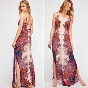 NWT Free People Wildflower Printed Maxi Slip Dress